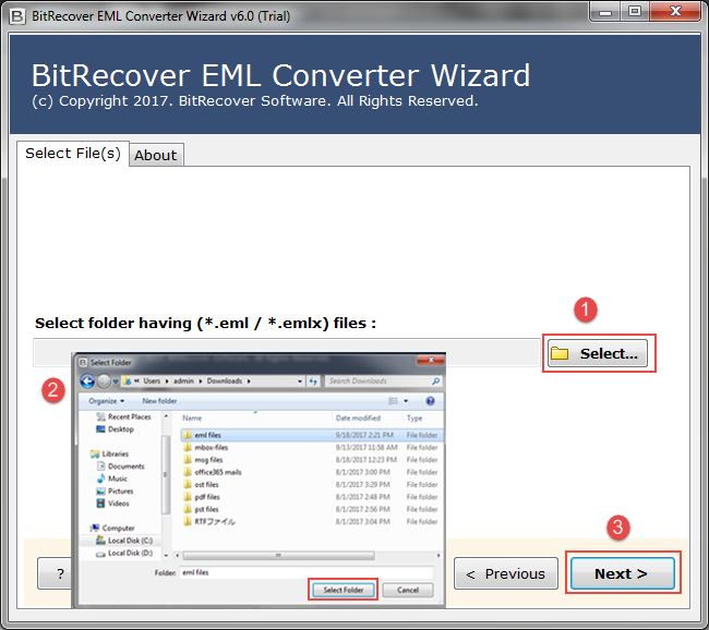 select the windows  mail eml folder you want to convert