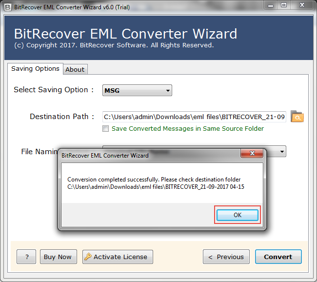 with free convert eml into msg for windows Conversion is done