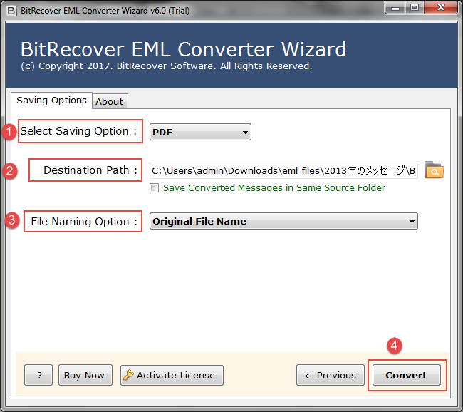 Windows 7 EML Files to PDF Converter 6.0 full