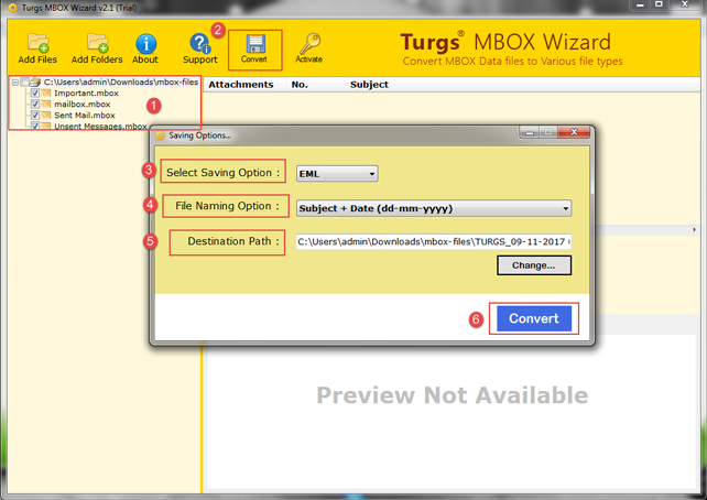 Select the mbox file and choose file saving option to star conversion