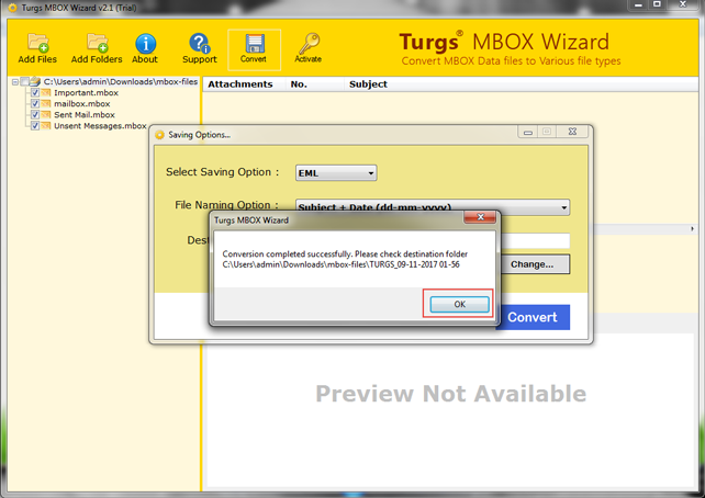 with free convert mbox thunderbird to eml for windows Conversion is done