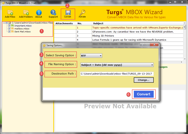 MBOX files to RTF Converter Try Free